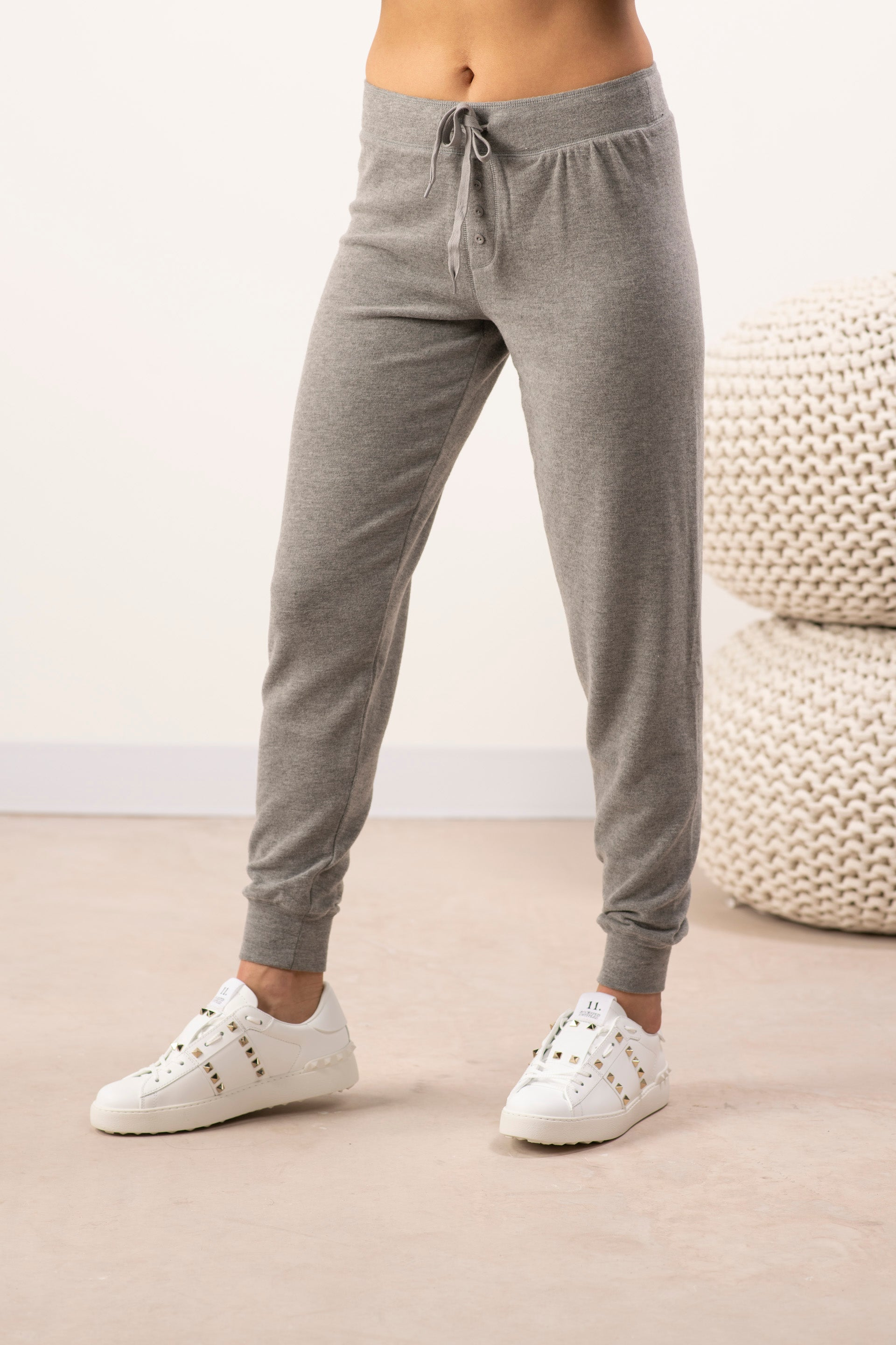 Cozy banded joggers in heather grey