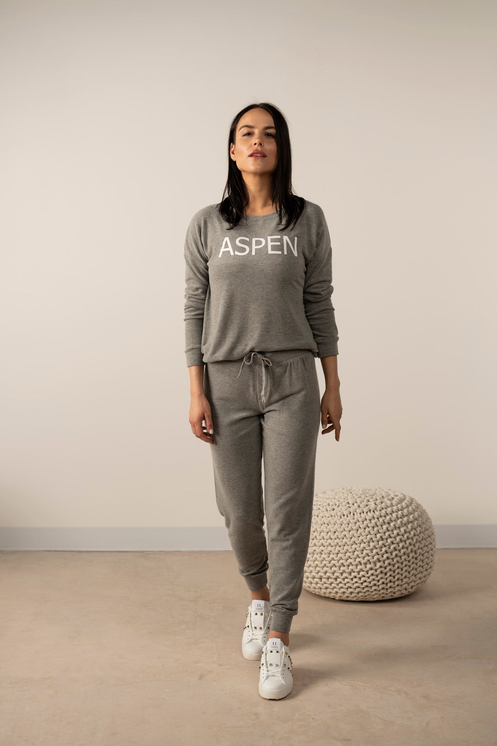 Hello from Aspen long sleeve top in heather grey