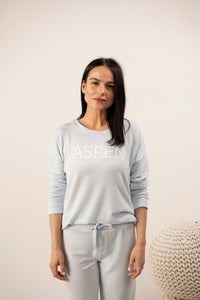 Hello from Aspen long sleeve top in morning blue