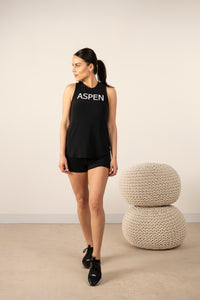 Hello from Aspen tank top in back to black