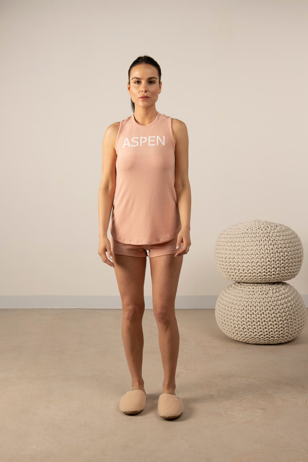 Hello from Aspen tank top in cozy pink