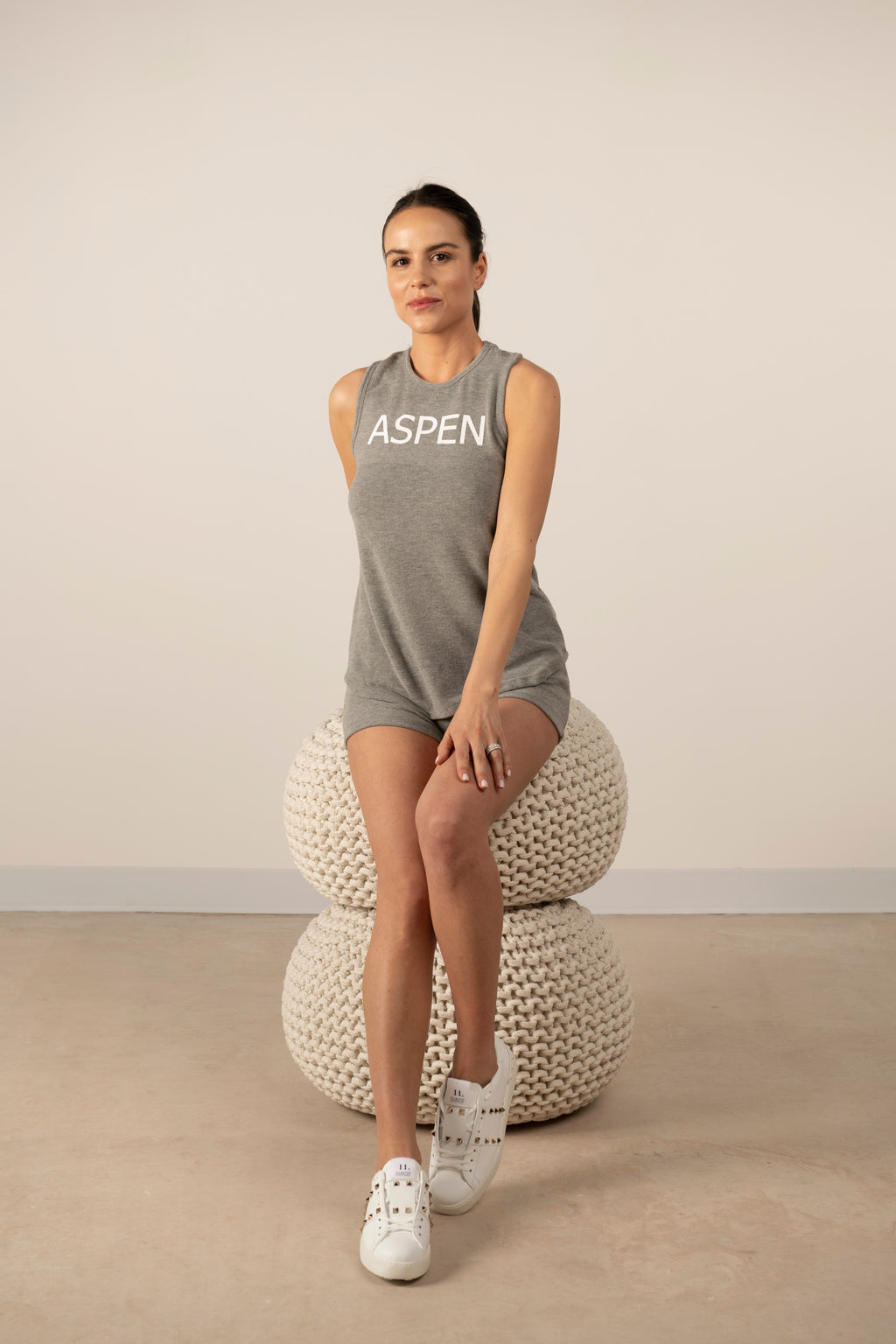 Hello from Aspen tank top in heather grey