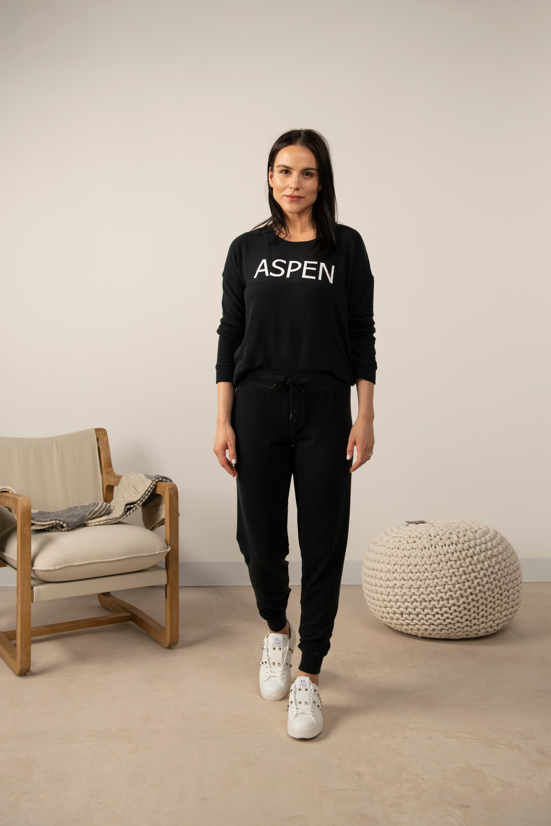 Hello from Aspen long sleeve top in back to black
