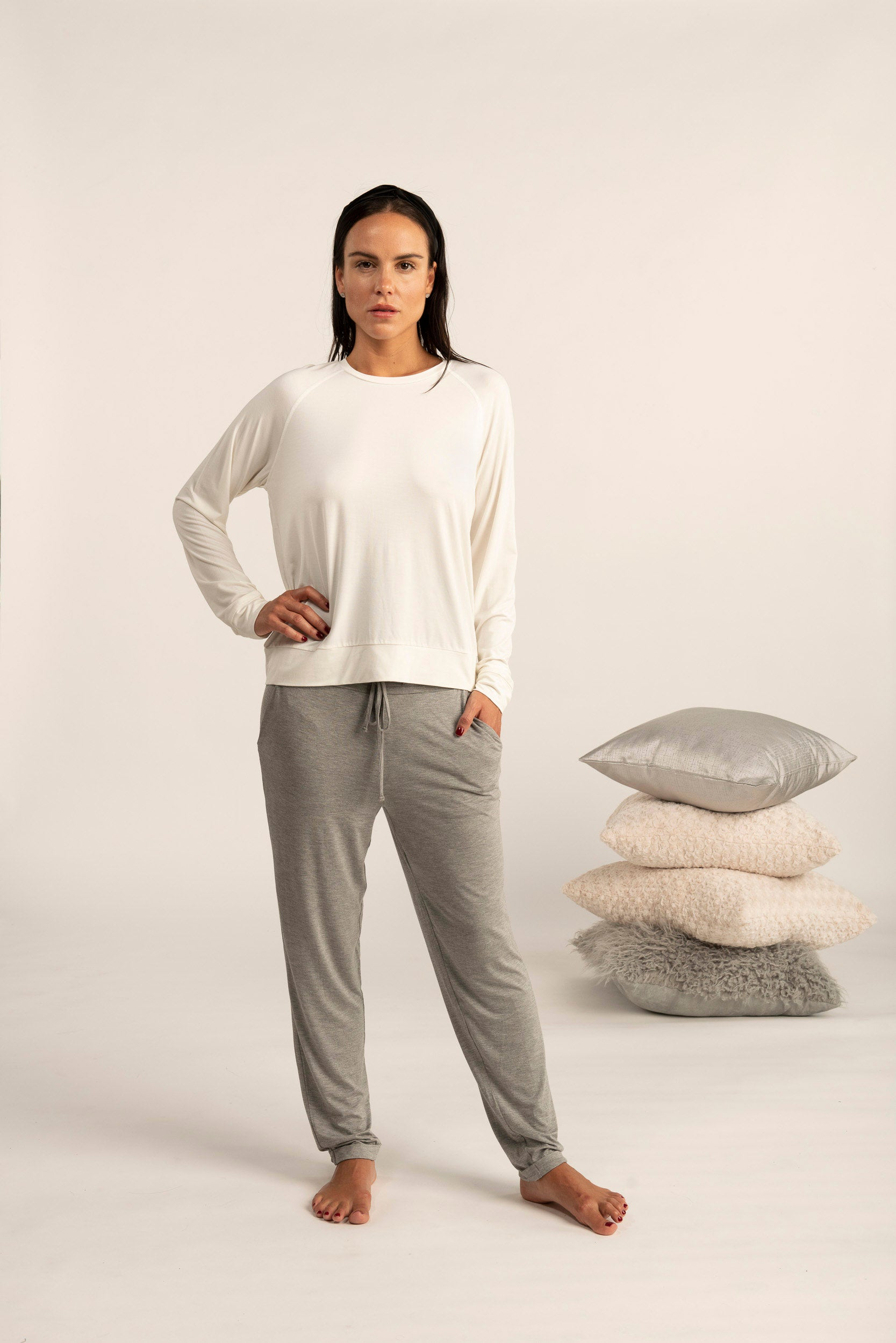 Long sleeve loose fit top in ivory
