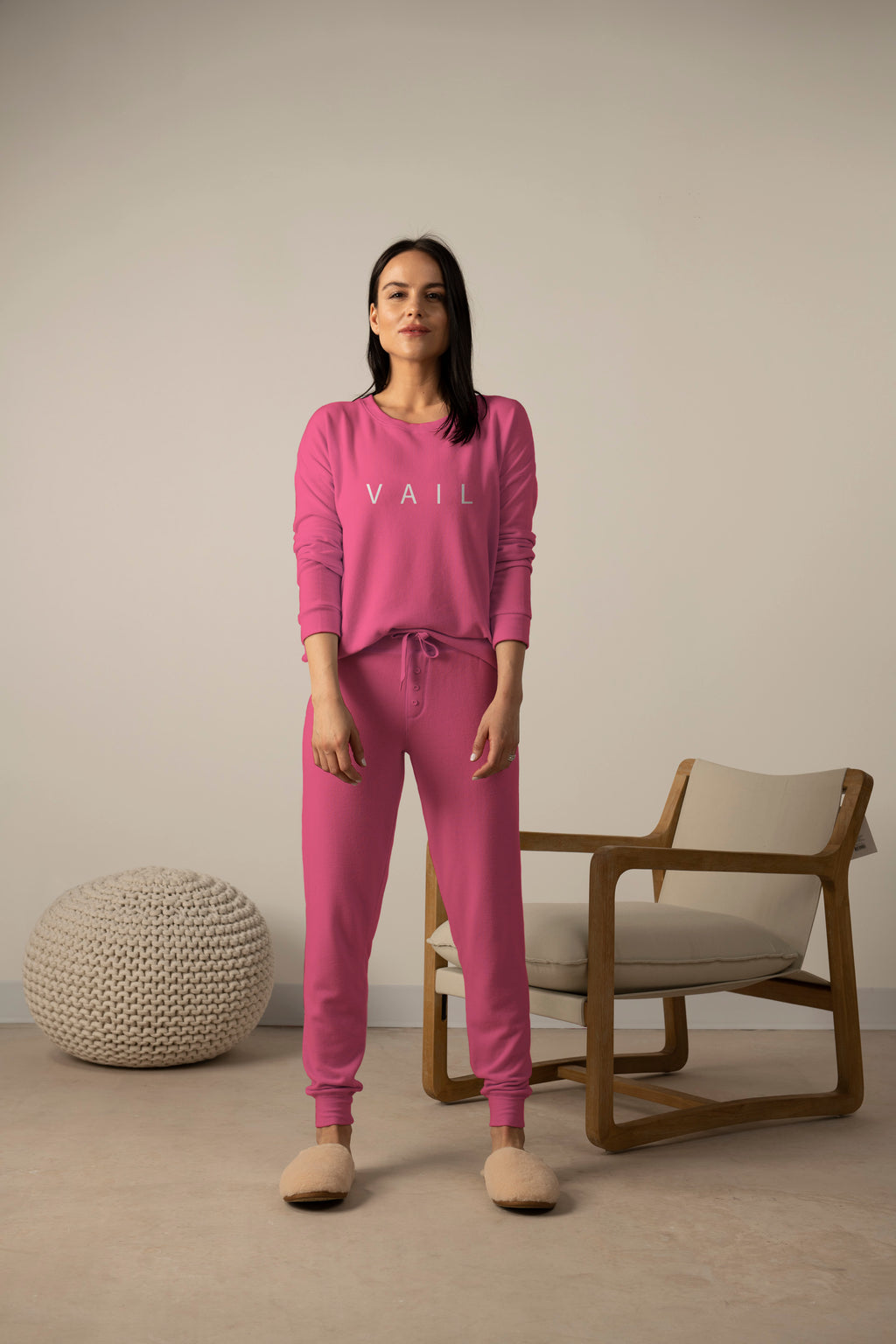 Hello from Vail long sleeve top in magenta