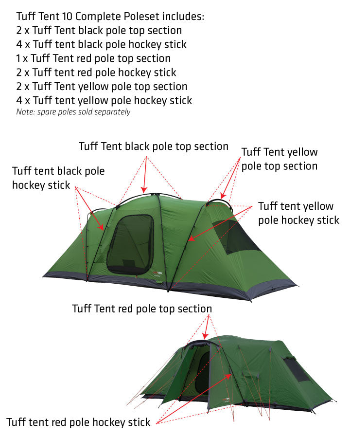Tuff tent yellow pole hockey stick