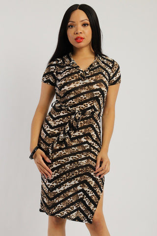 Print Midi Tee Dress /Matching Belt And A Side Slit