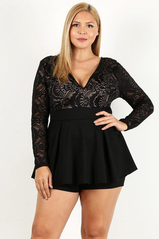Duo Fabric Romper With Lace Detail, Peplum Bodice, And V-neckline