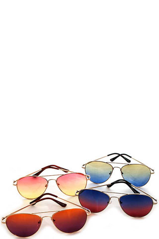 Designer Two Color Tint Aviator Sunglasses