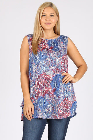 Plus Size Sleeveless Paisley Print Tunic Top