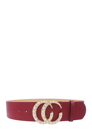 Stylish Pearl Accented Buckle Belt