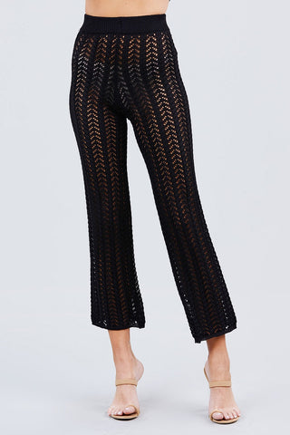 Flare Long Fishnet Sweater Pants