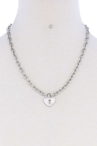 Fashion Heart Lock Chain Necklace And Earring Set