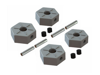 4 x 14mm Aluminum Wheel Hex - 2 x M3 x 3mm Set Screw *Reference Part - #AR310871 (ARAC9472) METAL WHEEL HEX 14mm 4 x Pin 2.5 x 12mm *Reference Part - #AR713028 (ARAC8003) PIN 2.5x12mm COMPATIBLE WITH: BIGROCK, GRANITE, SENTON