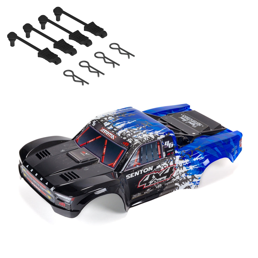 1 x SENTON 4X4 BLX Painted Decaled Trimmed Body (Blue) *Refference Part: #ARA402311 (ARA402311) 4 x ARRMA Body Clip Retainers, 4 x Medium size Body Clips, 1 x Fitting Instructions *Refference Part: #AR390165 (ARAC3445)     COMPATIBLE WITH: SENTON #ARA4303V3T1, #ARA4203V3IT1, #ARA4303V3T2