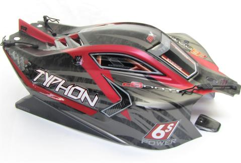 ARRMA TYPHON 6S BLX PAINTED DECALED TRIMMED BODY (BLACK/RED)