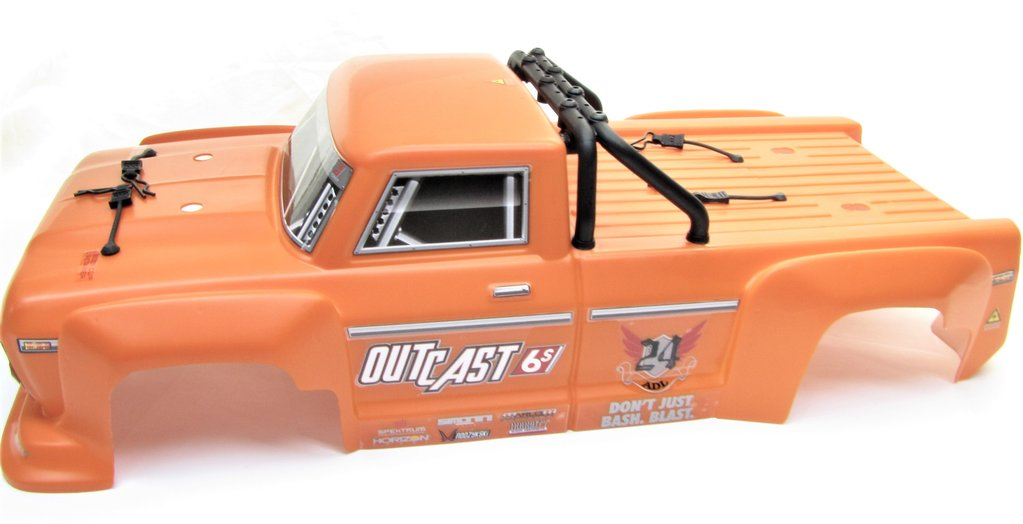 ARRMA OUTCAST 6S BLX PAINTED DECALED TRIMMED BODY (ORANGE) + CLIPS,ROLL BAR