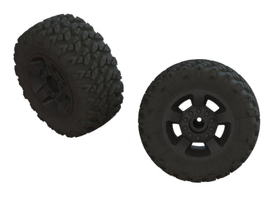 DBOOTS 'RAGNAROK MT' TIRE SET GLUED (BLACK) (2PCS) #AR550052 (ARA550052)
