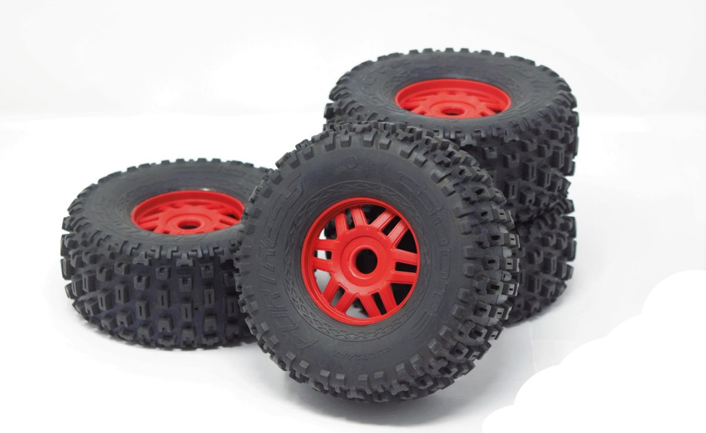 ARRMA MOJAVE 6S BLX - TIRES & WHEELS (RED RIMS DBOOTS FORTRESS)
