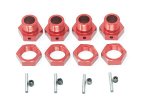 (KRATON, OUTCAST) 8S 1/5 - 24MM HEX HUBS (RED ALUMINUM WHEEL NUTS PINS)