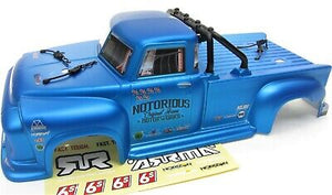 ARRMA NOTORIOUS 6S BLX PAINTED DECALED TRIMMED BODY (BLUE) + CLIPS,ROLL BAR