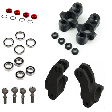 COMPOSITE FRONT STEERING BLOCK (1 PAIR) #AR330187 REAR HUB (2PCS) #AR330193 RUBBER SHIELDED BALL BEARING 8X16X5MM (2RS) (4PCS) #ARA610037 (ARA610037) RUBBER SHIELDED BALL BEARING 15X21X4MM (2RS) (4PCS) #ARA610038 (ARA610038) ALUMINIUM FRONT HUB NUT (Red) & O-ring (4pc) #ARA320467 (ARA320467) PIVOT BALL M6x14x35mm (4pcs) #AR330197 (ARAC8070)