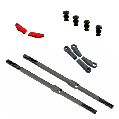 COMPOSITE BALL CUPS (turnbuckle only) #AR330230 AR340071 (ARAC9389) - STEEL TURNBUCKLE M4x95mm (Black) (2pcs) BALL M3x8x12mm #ARA330554 #AR340072 (ARAC9363) ALUMINIUM STEERING PLATE A (Red) (2pcs)