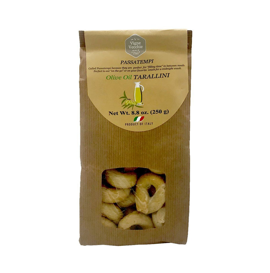 Tarallini with Olive Oil | Ring-shaped Cracker (8.8 oz) - vvjustitalian