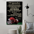 (cv842) LDA American football poster - Grandma to Grandson - Never feel that