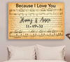 Custom Wedding Names & Date Sheet Music Song Lyrics Canvas Art
