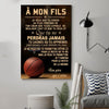 (cv816) LHD basketball poster - Dad to Son - never lose french vs
