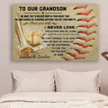 (cv881) LHD baseball poster - Grandpa&grandma to grandson - never lose