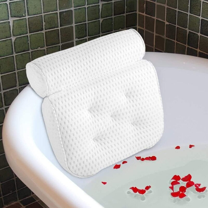 Non-Slip Bath Pillow Cushioned For Bath Tub Spa  With Suction Cups For Neck Back