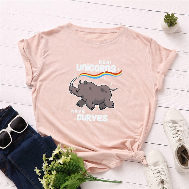 Funny T-shirt Real Unicorn Have Curves New Look Women T-shirt 100%