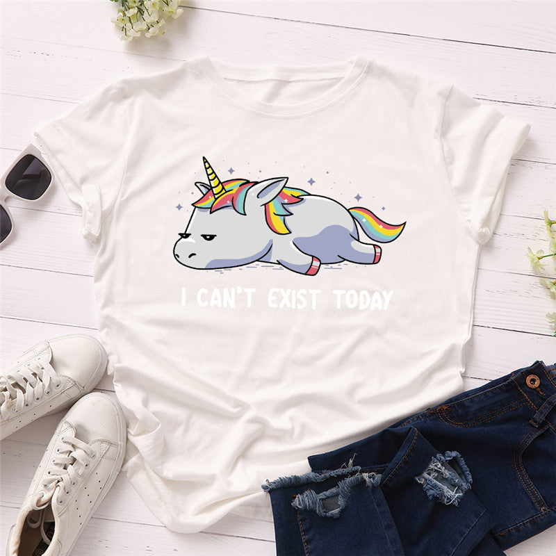 Funny T-shirt Unicorn I Can't Exist Today All Sizes T-shirt Women Shirts 100%Cotton O Neck Short Sleeve