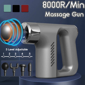 Therapy Massage Gun 5 Gears Muscle Massager Pain Sport Massage Machine Relax Body Slimming Relief With 4 Heads 8000r/min