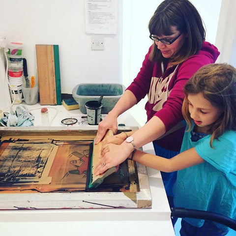 Anna Pharoah screen printing with local kids, part of Dulwich Festival 2017