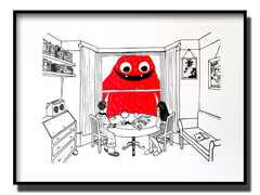 Red art by Anna Pharoah, original print featuring a big friendly monster, this art is fun-loving and suitable for kids, it is a limited edition, original artwork, framed and suitable for putting on the wall.