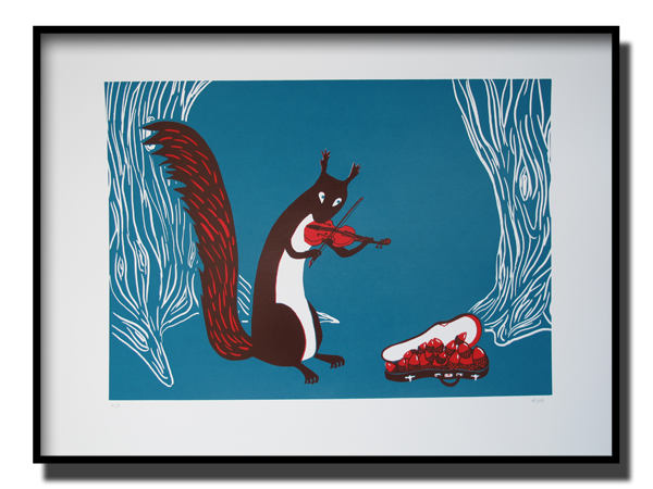 Red and turquoise art by Anna Pharoah, original print featuring a squirrel playing the violin, this art is fun-loving and suitable for kids, it is a limited edition, original artwork, framed and suitable for putting on the wall.
