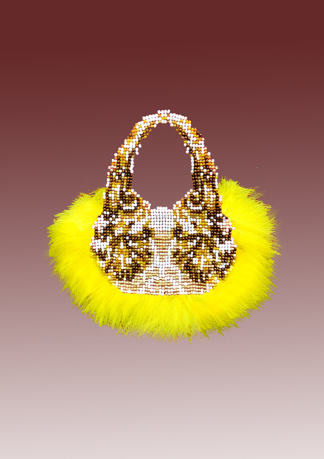 BEADING PURSE WITH FEATHER