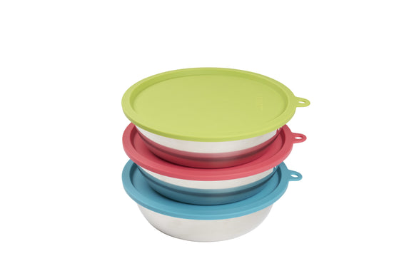 Stackable Stainless steel dog bowls with air tight lids on green, watermelon and blue