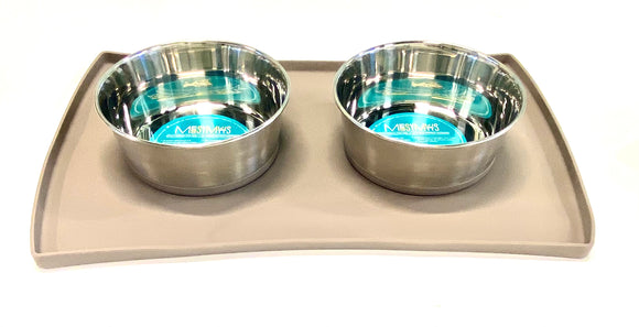 4pc Stainless Steel Bowl and Mat Set with Bonus Sponge
