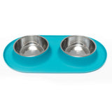 Double Silicone Feeder with Stainless Bowls, Extra Large, 6 Cups Per Bowl, 4 Colors Available