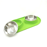 Double Silicone Feeder with Stainless Bowls, Green