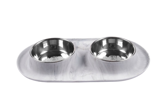 Double Silicone Feeder with Stainless Bowls, Medium, 1.5 Cups Per Bowl, Marble