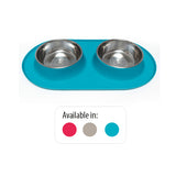 Double Silicone Feeder with Stainless Bowls, Large, 3 Cups Per Bowl, 4 Colors Available