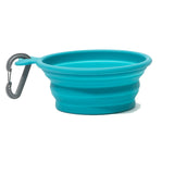 Blue Collapsible silicone travel bowl with carabiner 1.75 cup capacity