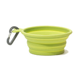 Green Collapsible silicone travel bowl with carabiner ,1.75 cup capacity