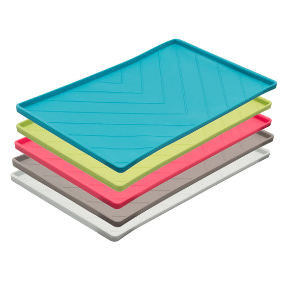 Silicone bowl mats with raised edge to contain mess and spills.  Wire reinforced for easy carrying.s
