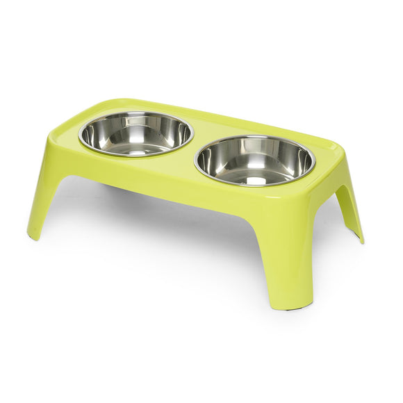Totally Pooched Melamine Elevated Feeder, Lime Green